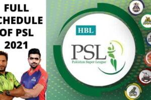 PSL 2021 Schedule